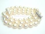 Prestige 3 Strand White Oval Pearl Bracelet 8-9mm