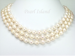 Prestige 3 Strand White Oval Pearl Necklace 8-9mm