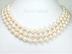 Prestige 3 Strand White Oval Pearl Necklace 8-9mm