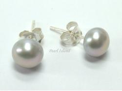 Prestige Silver Grey Pearl Studs 6-7mm