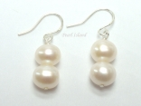 Bridal Pearls - Prestige White Pearl Earrings with two pearls 8-8.5mm