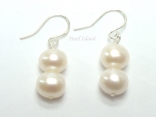 Prestige White Pearl Earrings with two pearls 7-8mm