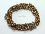Miniature 6-Row Brown Baroque Pearl Bracelet