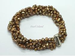 Miniature 6-Row Brown Baroque Pearl Bracelet
