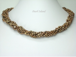 Miniature 6-Row Brown Baroque Pearl Necklace