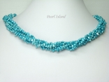 Miniature 6-Row Turquoise Baroque Pearl Necklace