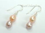 Petite Lavender Peach Oval Pearl Earrings 6x7mm