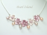 Petite Lavender Peach Oval Pearl Necklace with Flowers