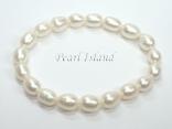 Petite White Oval Pearl Elastic Bracelet 7-8mm