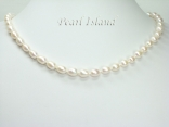 Petite White Freshwater Oval Pearl Necklace 7-8mm