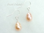 Petite Peach Oval Pearl Earrings 7-8mm