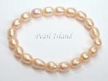 Petite Peach Oval Pearl Elastic Bracelet 7-8mm