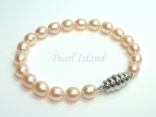 Petite Peach Oval Pearl Bracelet 7-8mm with Magnetic Clasp