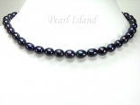 Petite Peacock Black Freshwater Oval Pearl Necklace 8-8.5mm