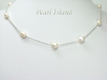 Petite White Freshwater Pearl Floating Necklace 7-8mm