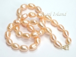 9ct Gold Petite Peach Oval Pearl Necklace 7-8mm
