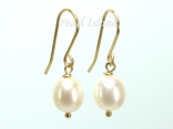 9ct Gold Petite White Oval Pearl Drop Earrings 7-8mm