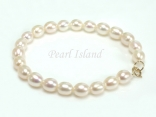 9ct Gold Petite White Oval Pearl Bracelet 7-8mm