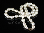 9ct Gold Petite White Oval Pearl Necklace 7-8mm
