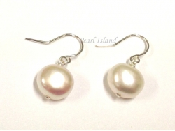 White Baroque Pearl Earrings 8-9mm