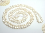Yours - 63 Inch White Baroque Pearl Rope Necklace 8-9mm