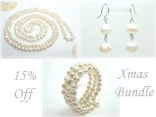 Ardent White Baroque Pearl Earrings Bracelet Necklace Set