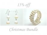 Ardent White Baroque Pearl Earring Bracelet Set