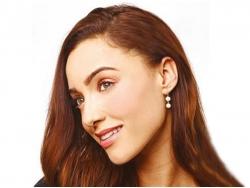 White Baroque Pearl Dangle Earrings 8-9mm