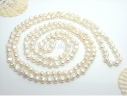 63 Inch White Baroque Pearl Rope Necklace 8-9mm