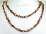 41 Inch Ardent Chocolate Brown Baroque Pearl Long Necklace