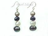 Ardent Grey White Baroque Pearl Earrings