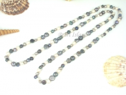 42 Inch Ardent Grey White Baroque Pearl Rope Necklace