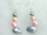 Ardent Peach Grey Pink Baroque & Blister Pearl Earrings 6-14mm