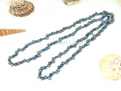 42 Inch Gun-metal Grey Dark Blue Baroque Pearl Rope Necklace