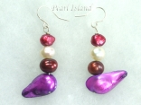 Ardent Purple White Baroque Pearl Earrings 6-20mm