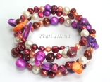 Ardent Purple Orange White Wine Baroque & Blister Pearl Bracelet 6-20mm