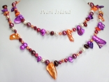 44 Inch Ardent Purple Orange White Baroque Pearl Rope Necklace
