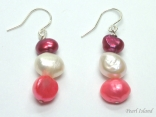 Ardent Pink W Baroque Pearl Earrings 6-10mm