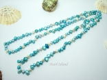 44 inch Ardent Turquoise & White Baroque & Blister Pearl Rope Necklace