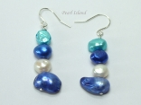 Ardent Dark Blue TW Baroque & Blister Pearl Earrings 6-16mm