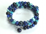 Ardent Dark Blue Turquoise Baroque Pearl Bracelet 6-8mm