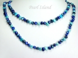 Ardent Dark Blue Turquoise Baroque Pearl Long Necklace 6-8mm_40inch