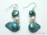 Ardent Dark Blue W Baroque & Blister Pearl Earrings 6-16mm