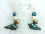 Ardent Teal Green White Baroque & Blister Pearl Earrings 6-16mm