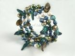 Ardent Teal Green White Baroque & Blister Pearl Bracelet