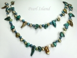 44 Inch Ardent Teal Green White Baroque & Blister Pearl Long Necklace