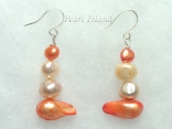 Ardent Dark Orange Ivory Baroque & Blister Pearl Earrings 4-14mm