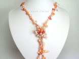 42 Inch Ardent Dark Orange Ivory Baroque & Blister Pearl Rope Necklace