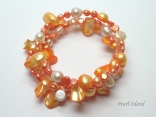 Ardent Orange W Baroque & Blister Pearl Bracelet 4-15mm