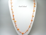 42 Inc Ardent Orange W Baroque & Blister Pearl Rope Necklace